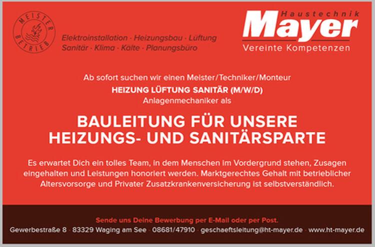 Banner Haustechnik Mayer